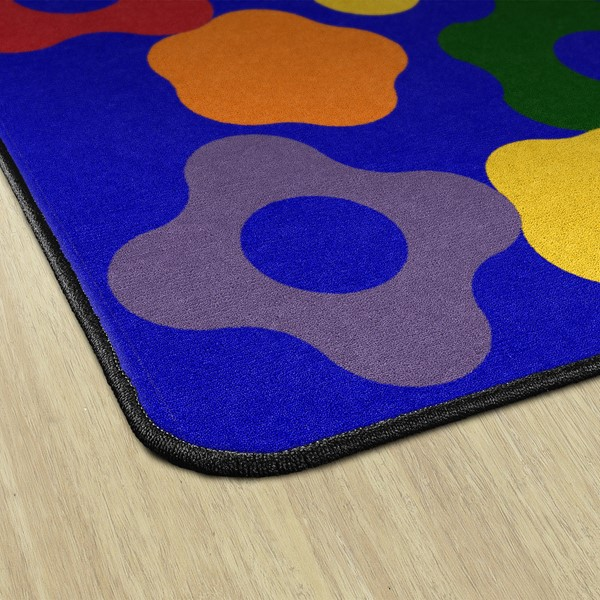 Primary Color Big Cogs Classroom Rug - Edges