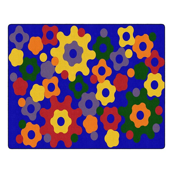 "Primary Color Big Cogs Classroom Rug - Rectangle (10' 6"" W x 13' 2"" L)"