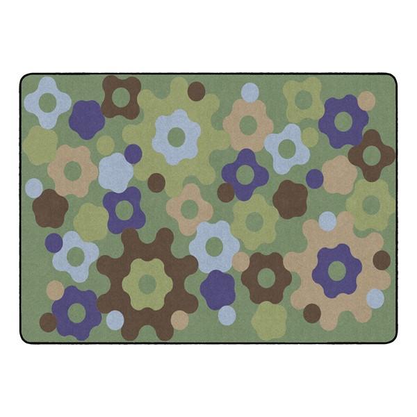 """Natural Color Big Cogs Classroom Rug - Rectangle (6' W x 8' 4"""" L)"""