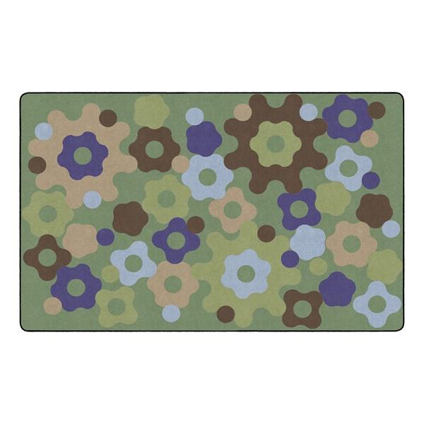 """Natural Color Big Cogs Classroom Rug - Rectangle (7' 6"""" W x 12' L)"""
