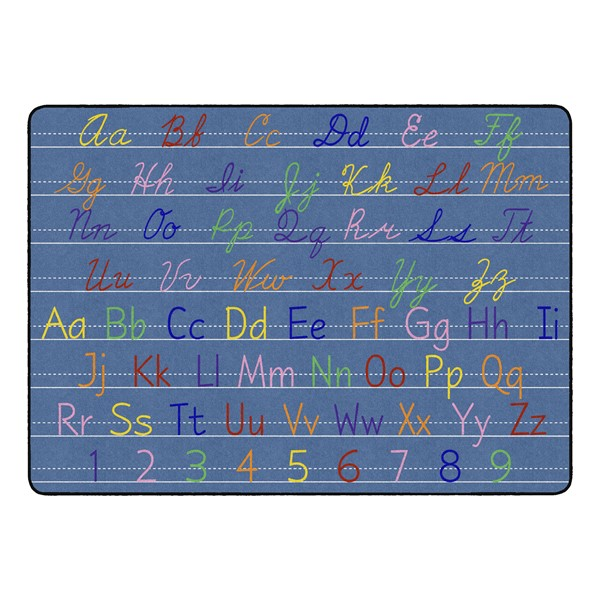 """Primary Color Handwriting Classroom Rug - Rectangle (6' W x 8' 4"""" L)"""