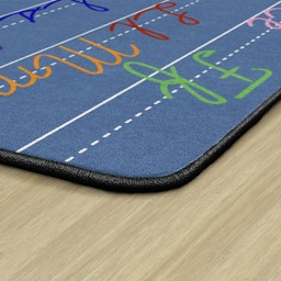 Primary Color Handwriting Classroom Rug - Edges