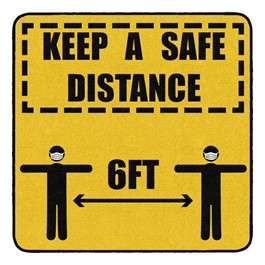 Keep a Safe Distance Durable Rug - Square (4\' W x 4\' L)
