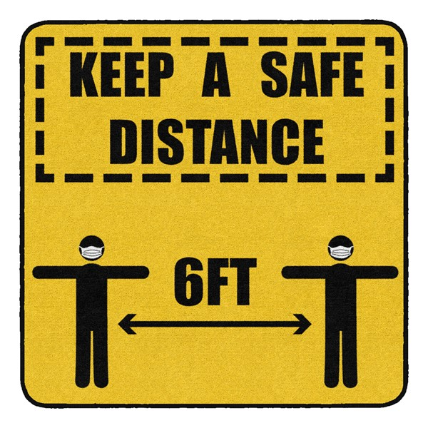Keep a Safe Distance Durable Rug - Square (4' W x 4' L)