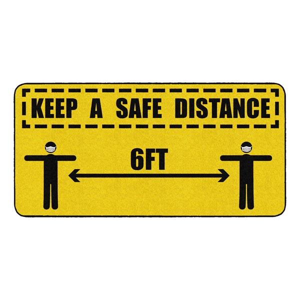 Keep a Safe Distance Durable Rug - Rectangle (3' W x 6' L)