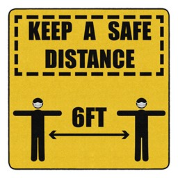 Keep a Safe Distance Durable Rug - Square (6' W x 6' L)