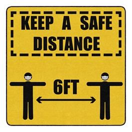 Keep a Safe Distance Durable Rug - Square (6\' W x 6\' L)