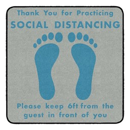 Thank You for Social Distancing Durable Rug - Square - Gray/Teal Feet