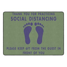 Thank You for Social Distancing Durable Rug - Rectangle - Green/Navy Feet