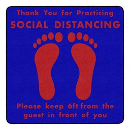 Thank You for Social Distancing Durable Rug - Square - Blue/Red Feet