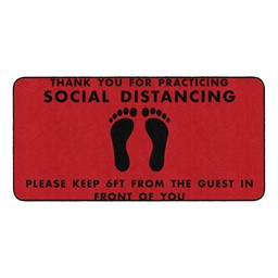 Thank You for Social Distancing Durable Rug - Rectangle - Red/Black Feet