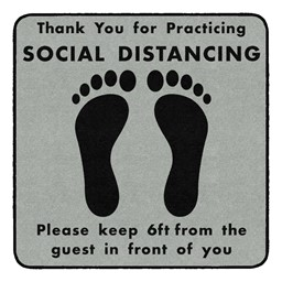 Thank You for Social Distancing Durable Rug - Square - Gray/Black Feet