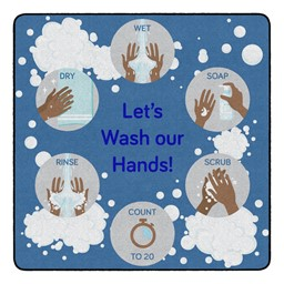 Let's Wash Our Hands! Durable Rug - Square