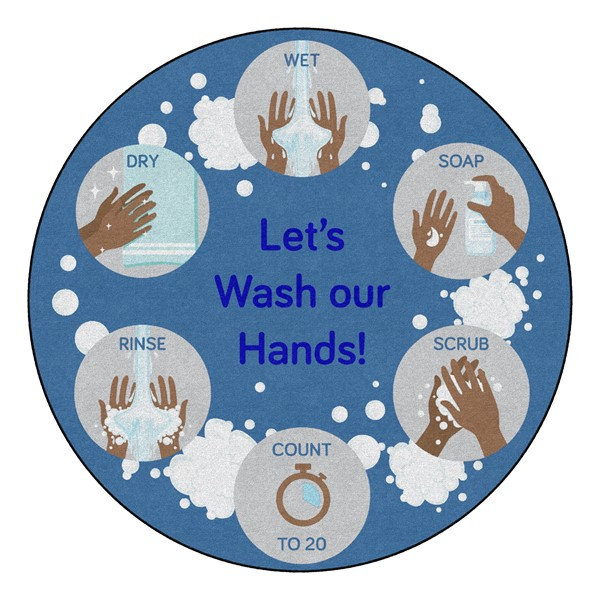 Let's Wash Our Hands! Durable Rug - Round (6' Diameter)