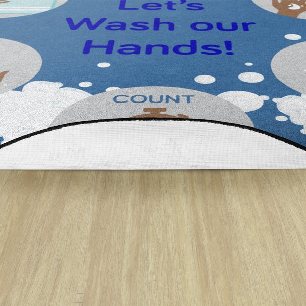 Let's Wash Our Hands! Durable Rug - Backing