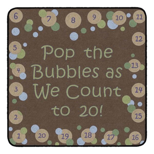 Pop The Bubbles Durable Rug - Square (4' W x 4' L) - Earthtone