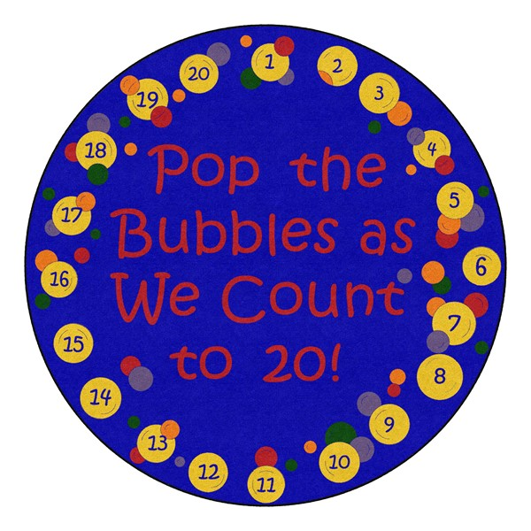 Pop The Bubbles Durable Rug - Round (6' Diameter) - Primary