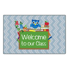 Chevron Fun Rug - Owl Welcome (2\' W x 3\' L) - Gray