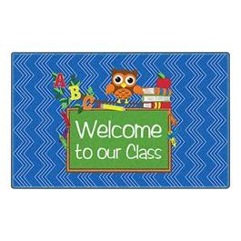 Chevron Fun Rug - Owl Welcome (2\' W x 3\' L) - Blue