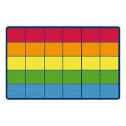 Preschool Room Divider w/ Soft Seating - Colorful Squares Seating Rug