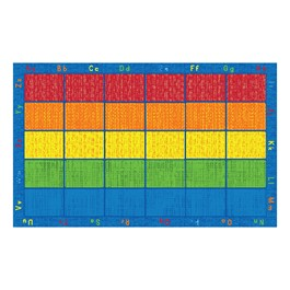 """Five-Color Alphabet Seating Rug (7\' 6\"""" W x 12\' L)"""