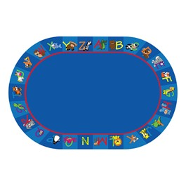 Alphabet Animals Rug - Oval (4\' W x 6\' L)
