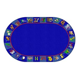 """Alphabet Animals Rug - Oval (7\' 6\"""" W x 12\' L)"""