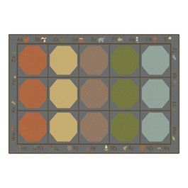 """Alphabet Seating Natural Colors Rug - Rectangle (5\' 10\"""" W x 8\' 4\"""" L)"""