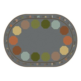"""Alphabet Seating Natural Colors Rug - Oval (5\' 10\"""" W x 8\' 4\"""" L)"""