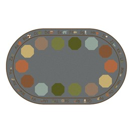 """Alphabet Seating Natural Colors Rug - Oval (7\' 6\"""" W x 12\' L)"""