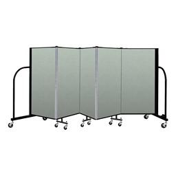 """4' H Vinyl Freestanding Portable Partition - 5 Panels (9' 5"""" L) - Mint"""