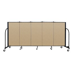 """4' H Vinyl Freestanding Portable Partition - 5 Panels (9' 5"""" L) - Sandalwood"""