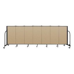 4' H Vinyl Freestanding Portable Partition - 7 Panels (13' 1' L) - Sandalwood