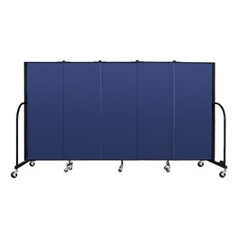 "5\' H Freestanding Portable Partition - 5 Panels (9\' 5"" L) - Blue"