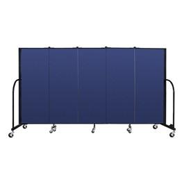 """5\' H Freestanding Portable Partition - 5 Panels (9\' 5\"""" L) - Blue"""