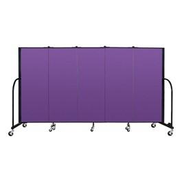 """4\' H Freestanding Portable Partition - 5 Panels (9\' 5\"""" L) - Purple"""
