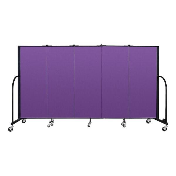 """4' H Freestanding Portable Partition - 5 Panels (9' 5"""" L) - Purple"""