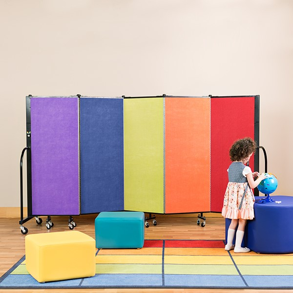 Multi-Color Freestanding Portable Partition - (Soft seating & rug not included)