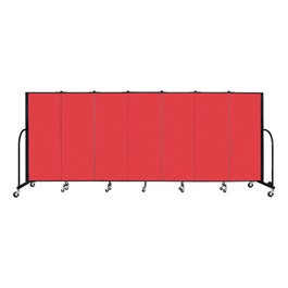 "5\' H Freestanding Portable Partition - 7 Panels (13\' 1"" L) - Red"