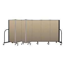 """5' H Vinyl Freestanding Portable Partition - 7 Panels (13' 1"""" L) - Sandalwood"""