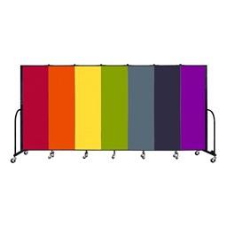 6' H Seven Panel Rainbow Freestanding Portable Partition