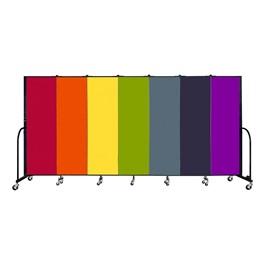6\' H Seven Panel Rainbow Freestanding Portable Partition