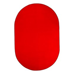 Heavy-Duty Solid Color Classroom Rug - Oval (12' W x 18' L) - Rowdy Red