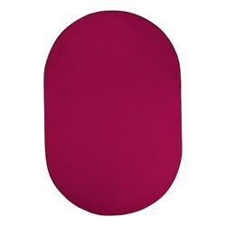 Heavy-Duty Solid Color Classroom Rug - Oval (12' W x 18' L) - Cranberry