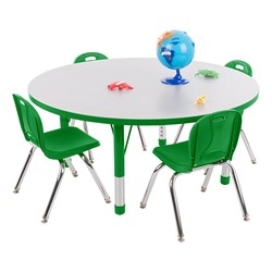 Round Adjustable-Height Preschool Collaborative Table - Chairs not included