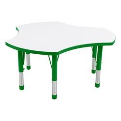 Cog Adjustable-Height Preschool Collaborative Table w/ Whiteboard Top - Green