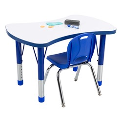 Bow Tie Adjustable-Height Preschool Collaborative Table w/ Whiteboard Top - Chair not included