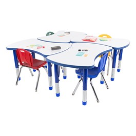 Preschool Bow Tie Collaborative Table w/ Whiteboard Top & Assorted Color Chair Set