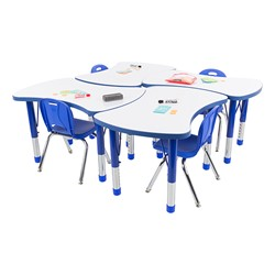 Preschool Bow Tie Collaborative Table w/ Whiteboard Top Set - Four Bow Tie Tables - Chairs not included