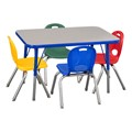 Rectangle Adjustable-Height Preschool Table & Assorted Color Chair Set